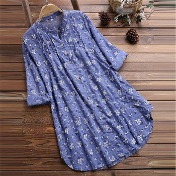 Plus Size Trendy Women clothes Long Sleeve Button Floral print T-Shirts stand collar casual Tops one pieces