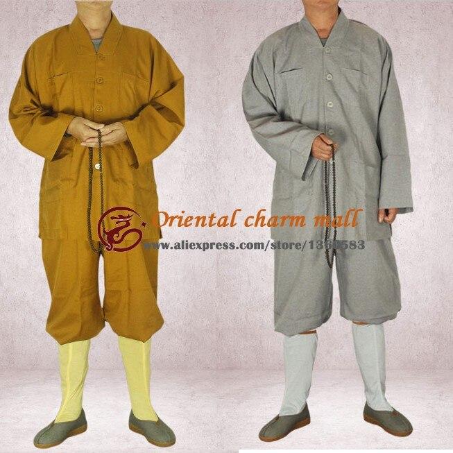 Высокое Качество Shaolin Monk Буддисты Ежедневно равномерное Дзен Буддийский Кунг-фу Обучение Костюм Катионных ткани небольшой платье халат