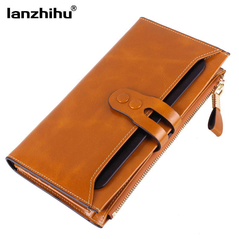 2016 New Women Genuine Leather Wallets High Quality Long Design Leather Purse Ladies Cowhide Card Case Phone Holder Clutch 2018 new women wallets oil wax genuine leather high quality long design day clutch cowhide wallet fashion female card coin purse