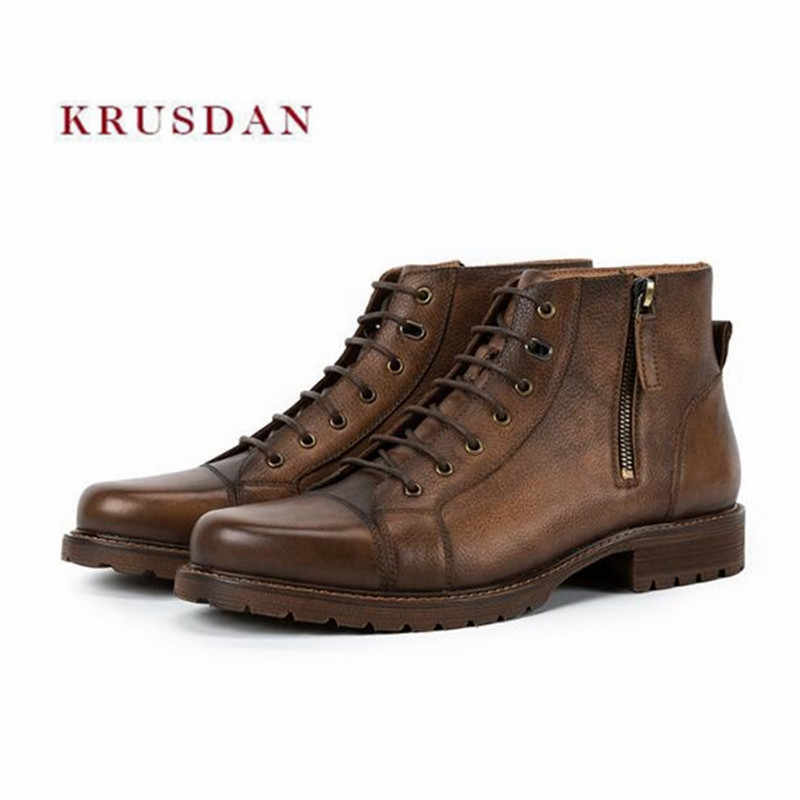 5151d8d9de KRUSDAN Men Flats Military Boots Brown Handmade Genuine Leather Ankle Boots  Lace Up Wedding Shoes Men Fashion Martin Short Boots