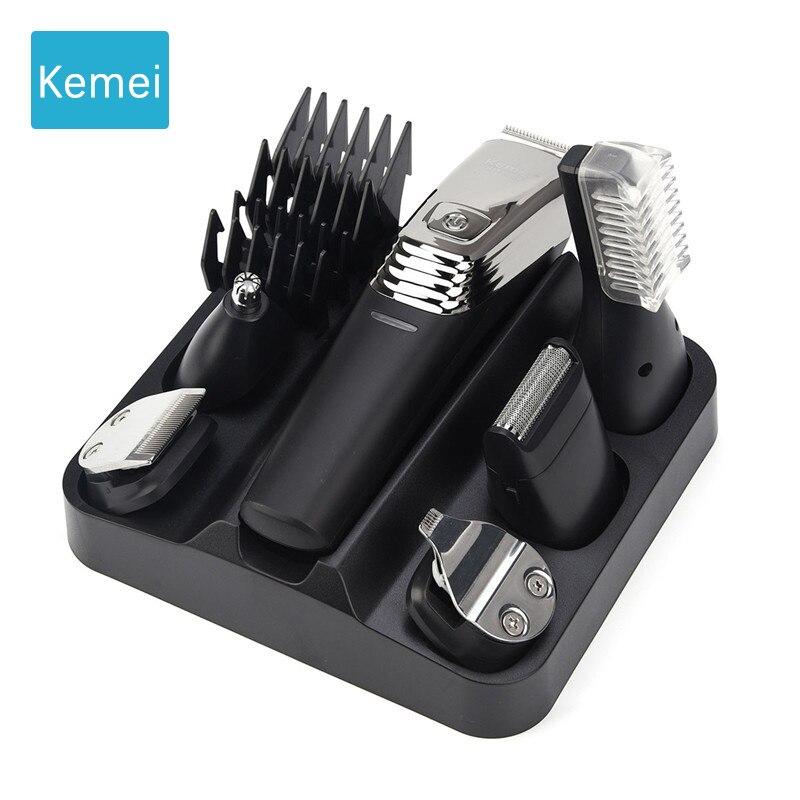 Neue Waschbar Kemei 6in1 Haar Clipper Cordless elektrische trimmer maschine cut haar wiederaufladbare trimer nose hair trimmer rasierer 5