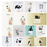 Cute Animal Light Switch Kids Room Removable Tiny Cartoon Wall Stickers Personalized Home Decoration Set of 3