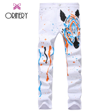 ORINERY 2017 Spring New Designer Zebra Printed Jeans Men High Quality Straight White Pants Fashion Denim Trousers Brand Clothing