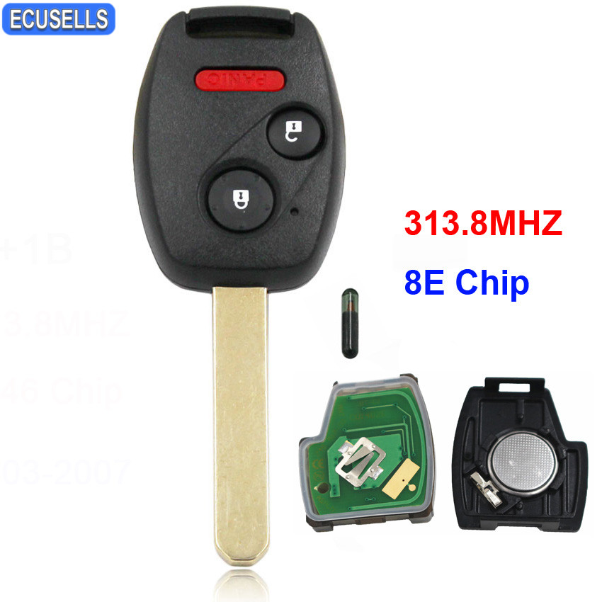 New Replacement 2+13 Button Remote Key Fob 313.8MHz 8E Chip for Honda Accord Fit Civic Odyssey 2005-2007 Uncut Blade