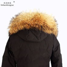Linhaoshengyue 70cm 80cm inverno real natural pele de guaxinim capuz colarinho, alta qualidade pele de guaxinim moda casaco gola boné