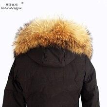 Linhaoshengyue 70cm 80cm zima prawdziwy naturalny kaptur z futra szopa kołnierz, wysokiej jakości futro szopa modny płaszcz kołnierz czapka kołnierz