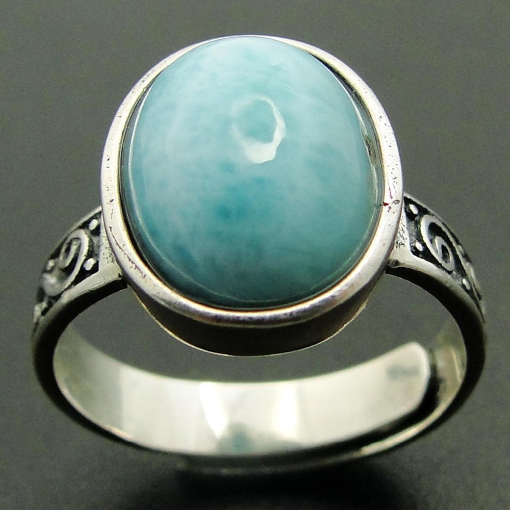 New Arrival Natural Larimar Ring 100% 925 Sterling Silver Jewelry Oval Larimar Stone Wedding Rings Women Adjustable Rings Size big stone larimar rings woman ladies engagement rings with natural larimar gemstone 925 sterling silver jewelry gift for her