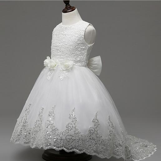 Princess Flower Girl Dress For Wedding Party High Quality Bridesmaid Kids Bow Sleeveless Trailing Lace Tulle White Tutu Dress
