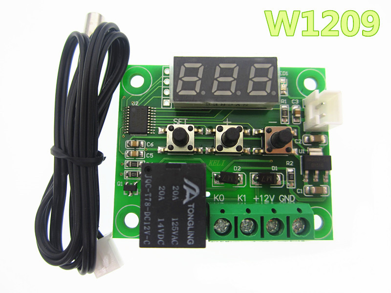 W1209 Digital LED Heat Cool Temp Thermostat Temperature Control Switch Module On/Off Controller Board DC 12V + NTC Sensor dc 12v led display digital delay timer control switch module plc automation new