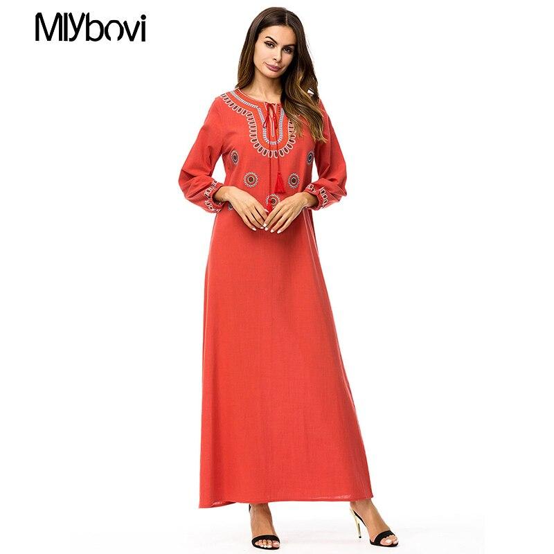 Muslim women Long sleeve Dress maxi long dress islamic clothing Wine Red Moroccan kaftan elegant embroidery ethnic vintage dress
