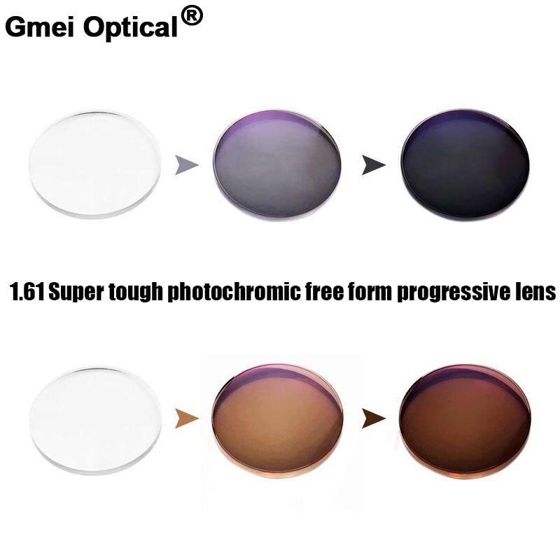 1.61 Super résistant Photochromique Numérique Progressives De Forme Libre Prescription Lentilles Optiques Avec Rapide Couleur Changeante Performance