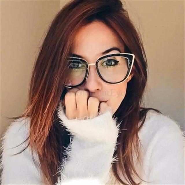 de00e5af642f0 Fashion Spetacles Transparent Frame Women s Glasses Brand Designer Cat s  Eye Glasses Clear Lens Classic Eyeglasses Frames