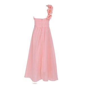 Image 3 - Dziewczyny szyfonowa suknia ślubna jedno na ramię plisowana wysokiej zwężone kwiat dziewczyna sukienka księżniczka piętro długość korowód suknia ślubna