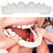 2Pcs Comfort Fit Flex White Fake Teeth Top Veneer Denture for Men Women Oral Supplies Orthodontic Braces Set(China)
