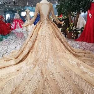 Image 2 - หรูหราทองแขนยาว High end ชุดแต่งงาน 2020 Handmade ดอกไม้ Sequined Bride ชุดแต่งงาน Real Photo CUSTOM Made