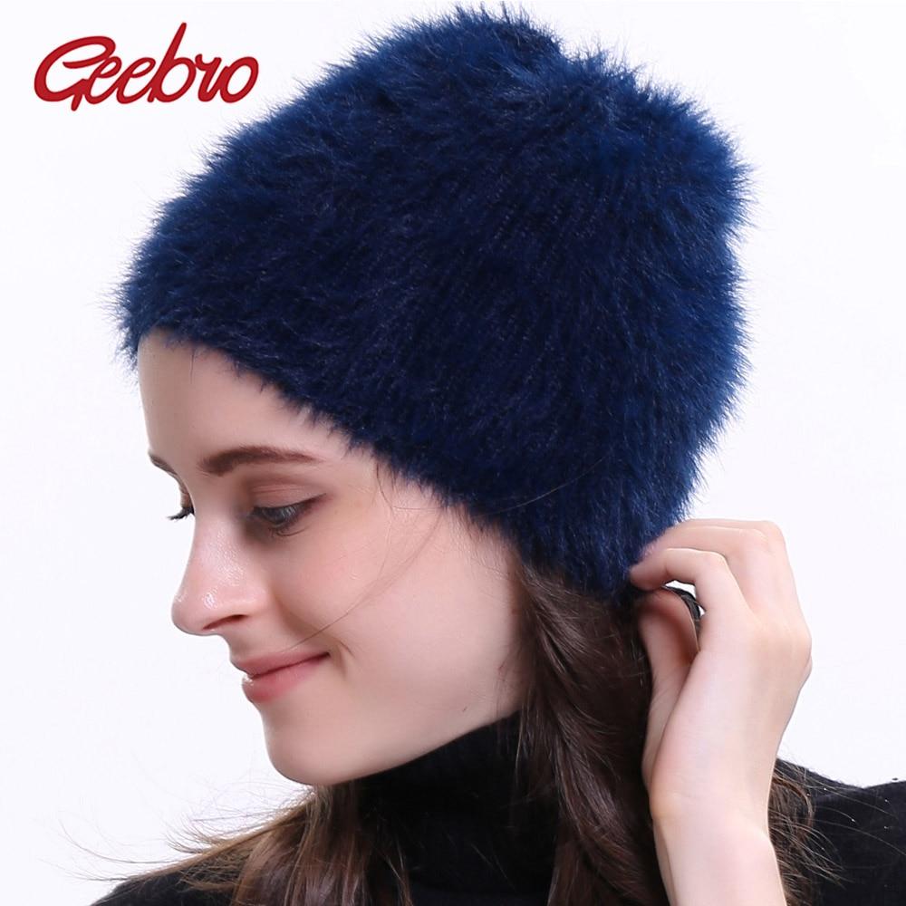 Geebro Women's Beanie Hat Winter Warm Fur Slouchy Beanie For Women Autumn Casual Plain Balaclava Skullies Beanies For Female