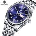 Brand WWOOR Day Date Luminous Hour Stainless Steel Clock Luxury Men Casual Quartz Watch Men Sports Wrist Watch Relogio Masculino