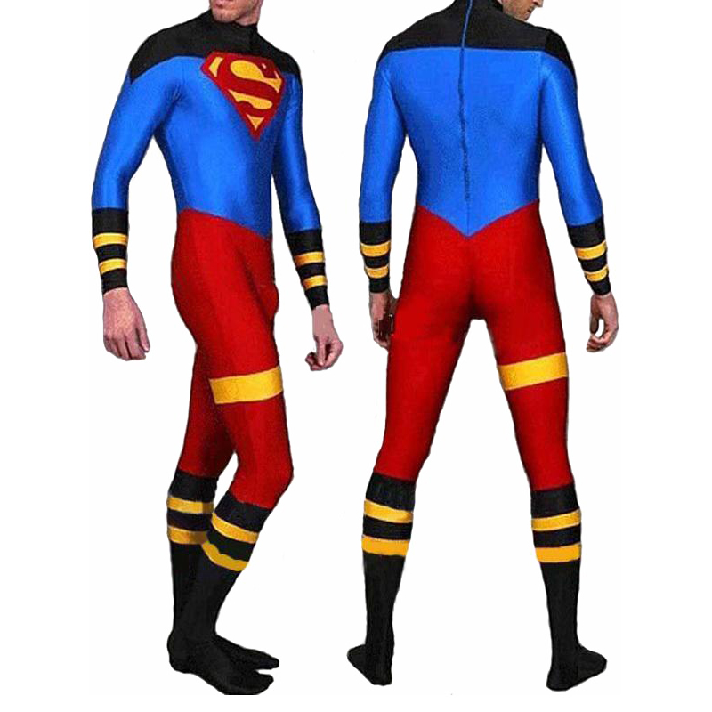 High Quality Adult/Children Mens Superboy Cosplay Costumes Lycra Spandex Zentai SuperHero Costume Super Boy Full Body Skin Suit