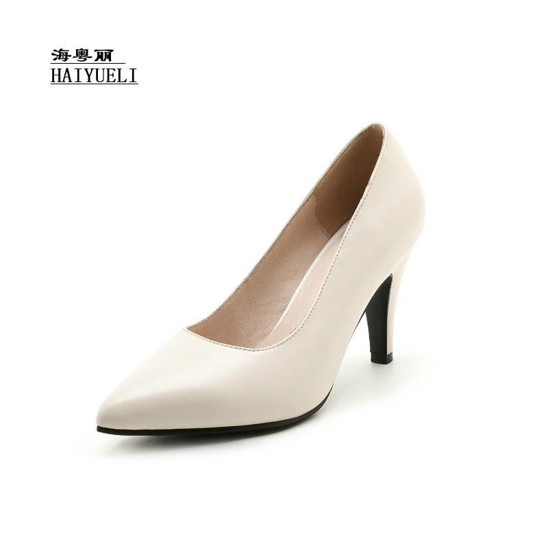 negro Top Beige Alto A Tacón Cuero Mujeres Zapatos Mano De Oficina Genuino Puntiagudos Hecho Producto Bombas Puro pqEZaw4