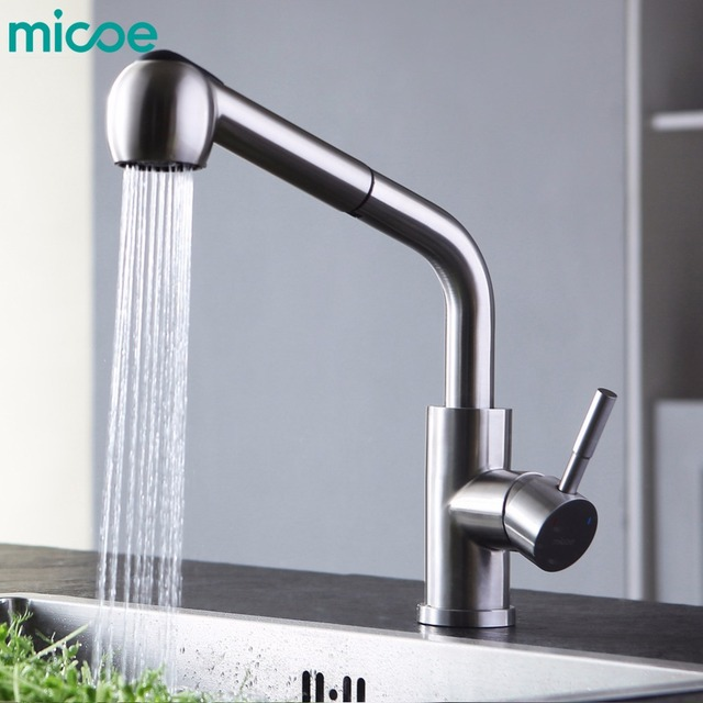 Micoe Br Kitchen Sink Mixer Hot And Cold Faucet 360 Degree Double Nozzle Single Handle