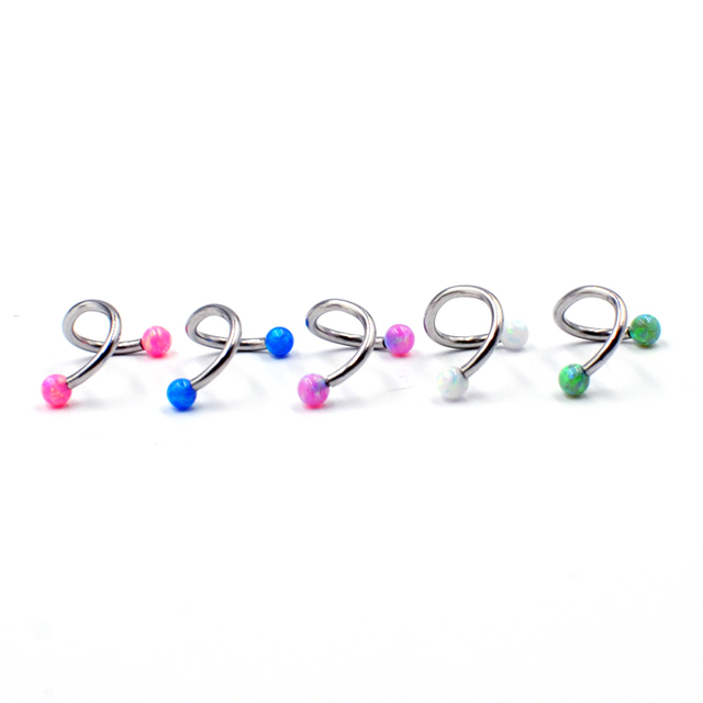 2PCS  Surgical Steel Internally Thread Opal Opal Ear Tragus Cartilage Earring Ear Studs Septum Clicker Nose Eyebrow Lip Ring 16g 2