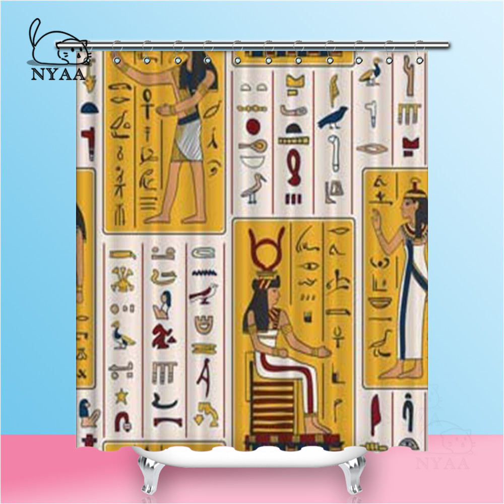 Nyaa Egyptian Gods Shower Curtains Ancient Egyptian Hieroglyphs Waterproof Polyester Fabric Bathroom Curtains For Home DecorNyaa Egyptian Gods Shower Curtains Ancient Egyptian Hieroglyphs Waterproof Polyester Fabric Bathroom Curtains For Home Decor