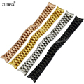 ZLIMSN Watchband 13mm Solid 316L Stainless Steel Black Gold Rose Gold 3 Links Watch Bands Bracelets Curved End S22