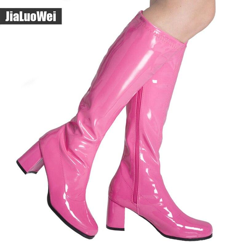 Jialuowei női divat szexi lapos sarkú cipő cipő tavaszi / őszi tér toe térd magas hosszú csizma plusz méret 36-46