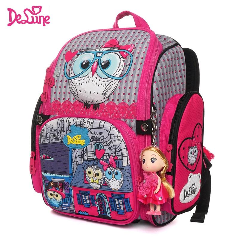Delune 2019 New Cartoon School Bag Orthopedic Children s Backpack for Girls 3D Owls Cat Model