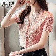 Модная женская блузка и топы блузка рубашки женские рубашка топы кружевная блузка кнопка рукав короткий Повседневная v-образный вырез сплошной 3799 50