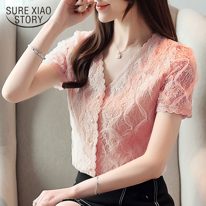 Fashion women   blouse   and tops 2019   shirts     blouse     shirt   ladies tops lace   blouse   button short sleeve casual V-Neck Solid 3799 50