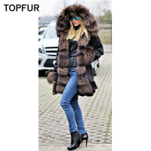 TOPFUR New Arrival Real Fur Parka Women Fashion Natural Silver Fox Collar And Cuff Luxury Thick Warm Hot Sale