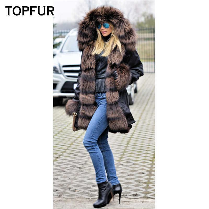 TOPFUR 新着リアル毛皮パーカー女性のファッションの天然シルバーフォックス毛皮の襟と袖口高級厚手暖かいリアルファーパーカーホット販売