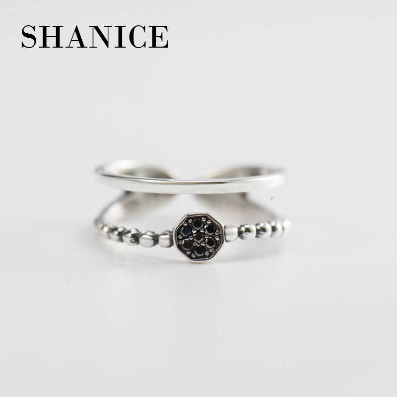 SHANICE Retro 100% 925 Sterling Silver Rings For Women Double Layer With Black Stone Vintage Thai Silver Ring Jewelry Gifts