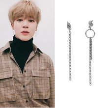 купить Pendientes Mujer Moda 2018 Korean Fashion Jewelry Winner KPOP Bangtang Boys Jin V Earrings Jungkook Suga Long Tassel Earring онлайн