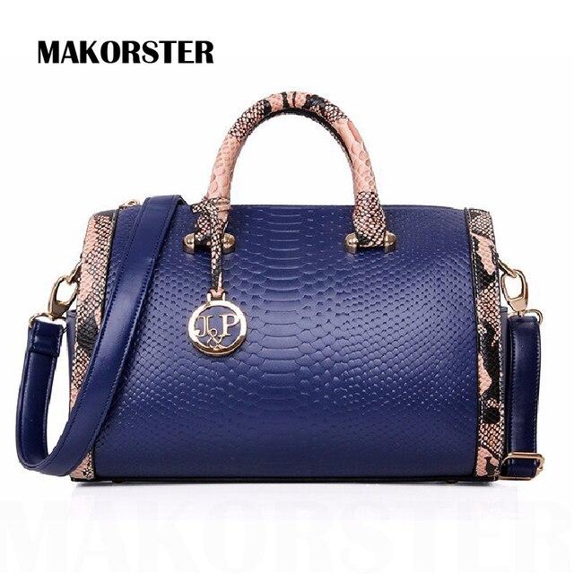 JP borse delle donne marche famose spalla messenger borse del cuoio genuino borse boston cuscino serpentina sacchetto di grano