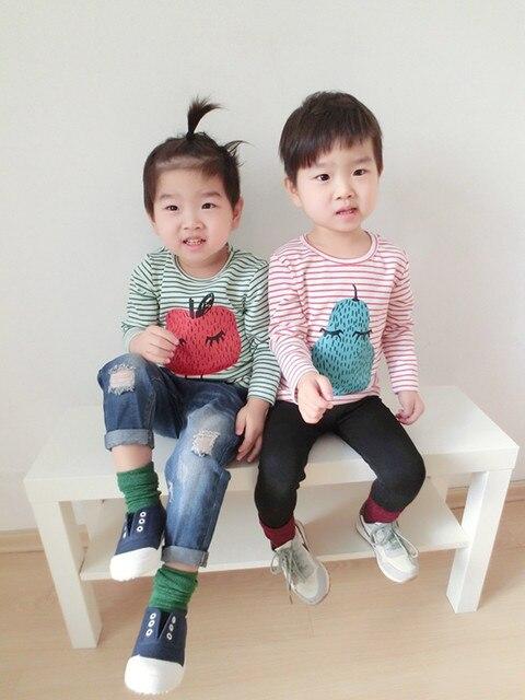 Новый стиль весна мода хлопок малыш девочка майка детские детская одежда полосатый плод печатный футболки для детей бобо выбирает