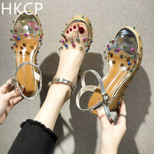 HKCP The new summer Korean version of the colorful wedge sandals with a rivet and transparent high-heeled gladiator shoes C090