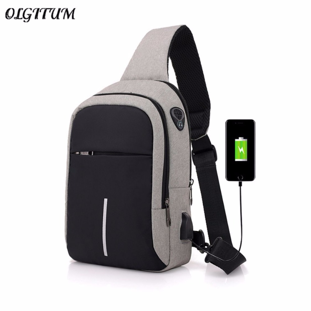 Men's Canvas Chest Bag External USB Interface Charging Smart Small Backpack Wide Shoulder Strap Zipper Design Men Shoulder Bag