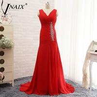 Vnaix E3122 Hot Red V Neck Cap Sleeves Plus Size Beading Chiffon Mermaid Evening Dresses 2015