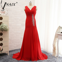 Vnaix E3122 Hot Red V Neck Cap Sleeves Plus Size Beading Chiffon Mermaid Evening Dresses Long Evening Formal Party Gowns