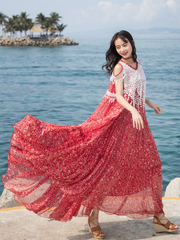 Free Shipping Boshow 2020 Tassels Fashion Women Chiffon And Lace Red Flower Print Long Maxi Dresses Summer Bohemian Dress M-L фото