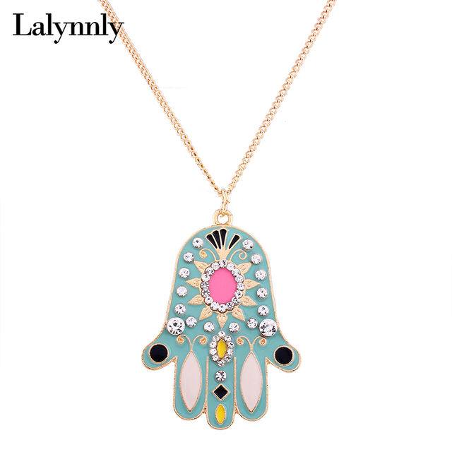 Lalynnly long fatima hand necklace pendant rhinestone hamsa gold lalynnly long fatima hand necklace pendant rhinestone hamsa gold chain necklace for women long pendant necklace aloadofball Choice Image