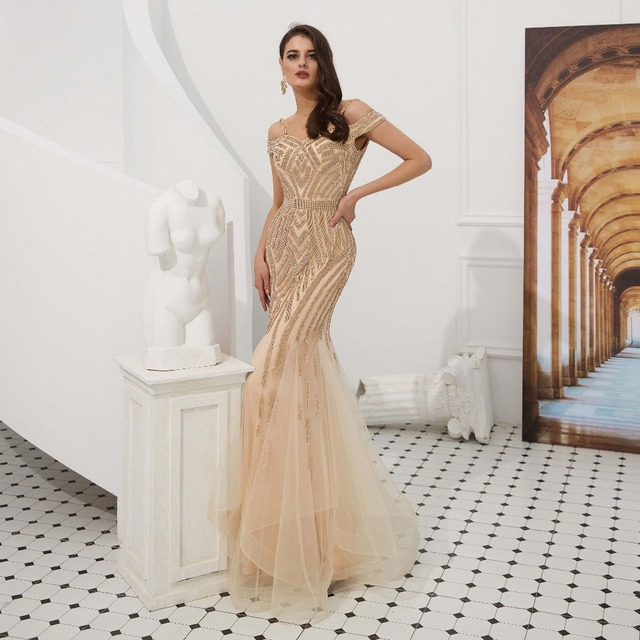 US $179.25 25% OFF|Elegant Glitter Gold Arabic Mermaid Evening Dresses 2019  Sequined Sparkle Plus Size Party Gowns Cap Sleeve Champagne-in Evening ...