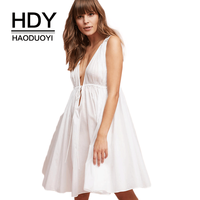 HDY Haoduoyi Apparel Women Dress White Sleeveless Sexy Cold Shoulder Female Mini Dress Casual Sexy Backless