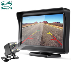 GreenYi 2In1 Car Parking System Kit 4.3 TFT LCD Color Rearview Display Monitor + Waterproof Reversing Backup Rear View Camera
