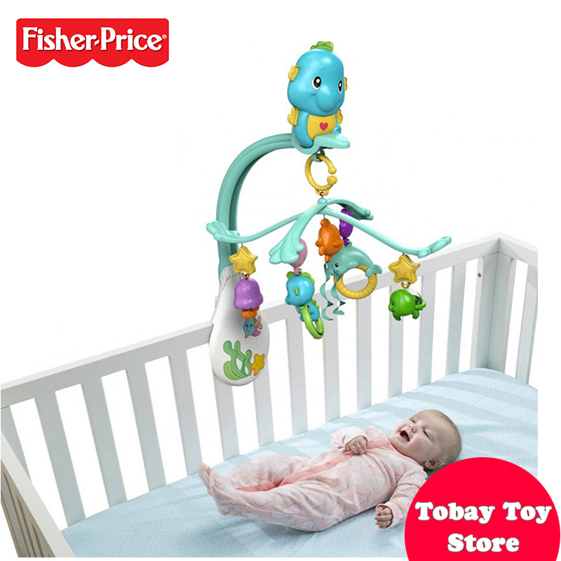 Fisher Price Baby Bedding Set Funny Musical Mobile Animal Bed Bell Mobile Fundo do Mar Verde Claro DFP12 For Baby Sleeping Toys genuine fisher price interactive fun music learning wheel bilingual machine funny baby growing up education toy x6517