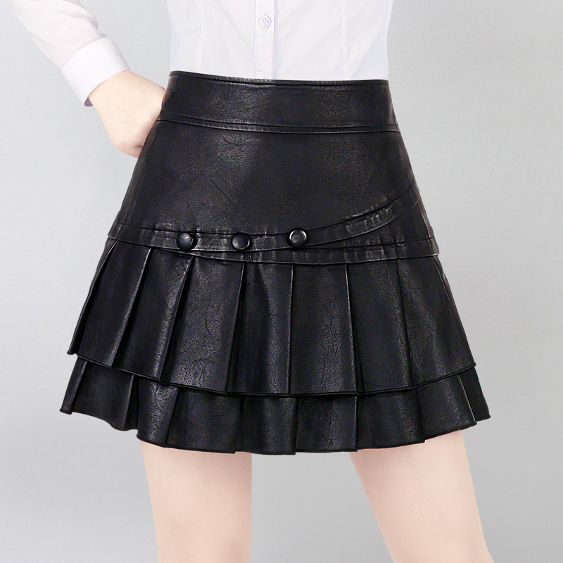 Femelle Jupe 2018 Nouveau Automne et Hiver Solide Couleur Un-type Jupe Plissée PU Cuir Jupes Femmes Faldas Mujer moda Harajuku