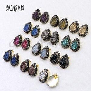 Image 2 - Boucles doreilles druzes pour femmes, 10 paires, boucles doreilles à clous en pierre, mélange de couleurs, imitation druzes, vente en gros de bijoux, tendance 7021
