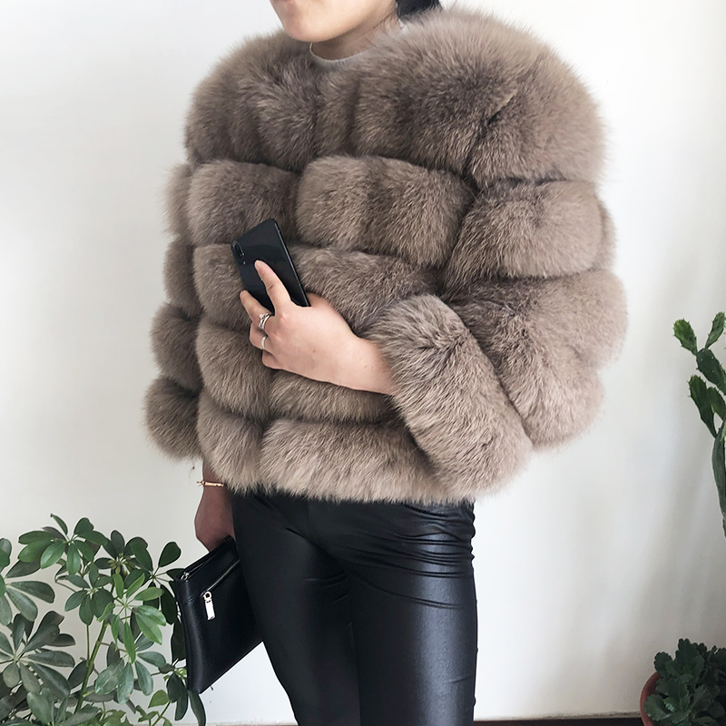 2019 new style real fur coat 100% natural fur jacket female winter warm leather fox fur coat high quality fur vest Free shipping 69